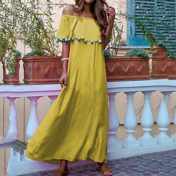 Bohemian Pure Colour Boat Collar Cotton Ball Tassel Long Dress