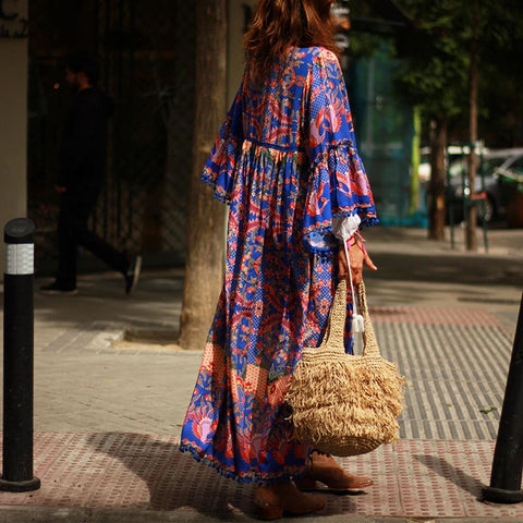 Bohemian Digital Print Tassel Long Cardigan