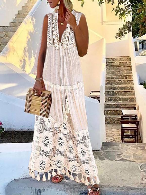 Bohemian Fashion Inwrought Tassel Pure Colour Dress