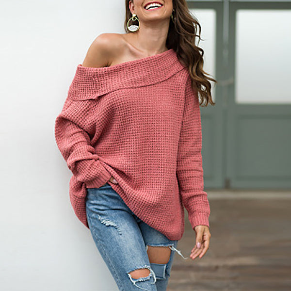 Casual Off-Shoulder Acrylic Fibers Pure Colour Sweater