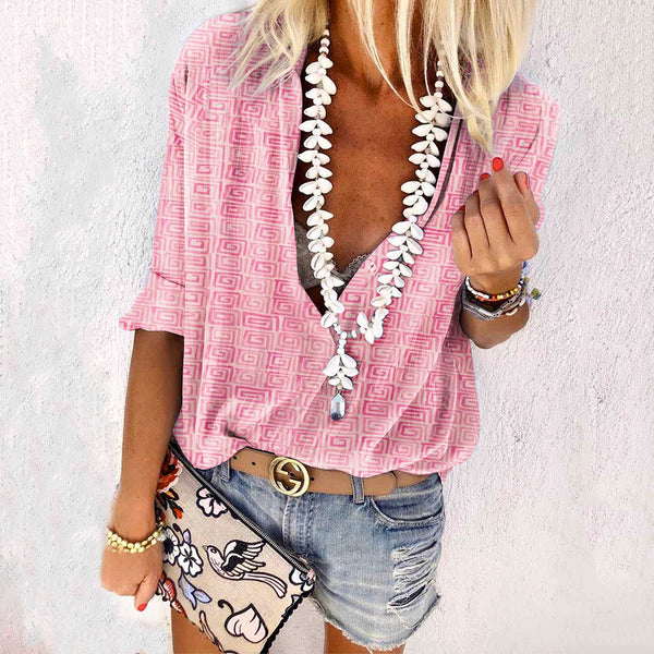Bohemian Women's Casual Printed Color V Neck Long Sleeve Loose Blouse
