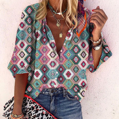 Casual Deep V-Neck Sleeve Abstract Style Print Top