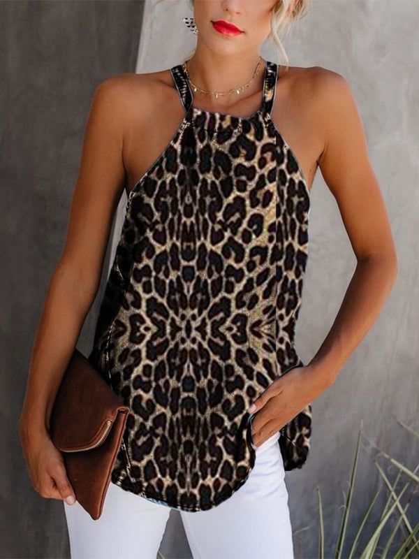 Bohemian Women's Hanging Neck Sleeveless Leopard Vest