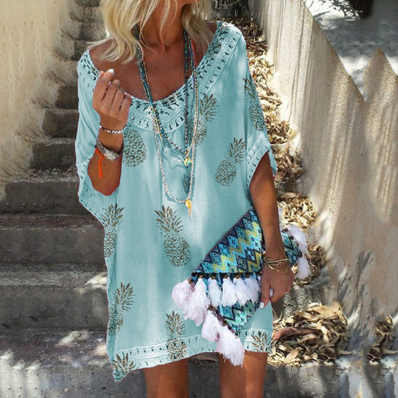 Bohemian Fashion Round Neck Lace Stitching Five-Points Sleeve Dresses
