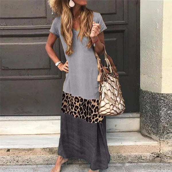 Bohemian V Neck Short Sleeve Ankle-Length Leopard Print Color Matching Casual Dress
