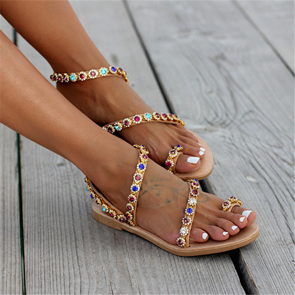 Rhinestone decorative flat with women's sandals
