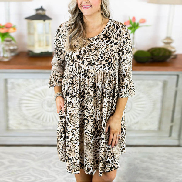 Elegant Slim Thin Round Collar Leopard Print Five-Sleeve Dress