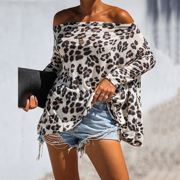 Bohemian Casual Leopard Print Boat Neck Long Sleeve Loose Blouse
