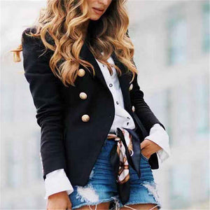 Solid Color Single Row Button Folded Collar Coat