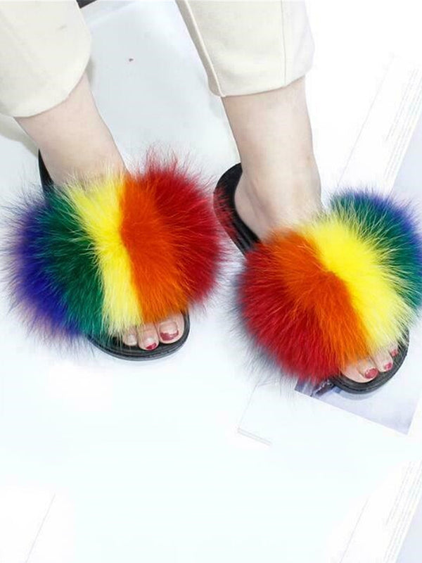 Women's fashion color fox fur slippers