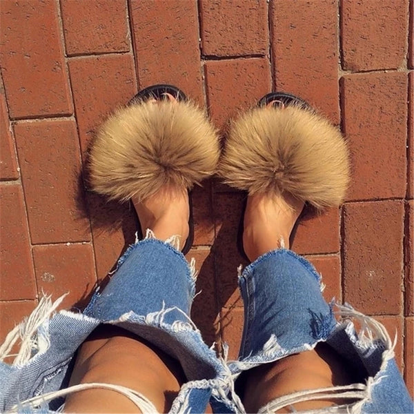 Women's fashion fox fur flat slippers