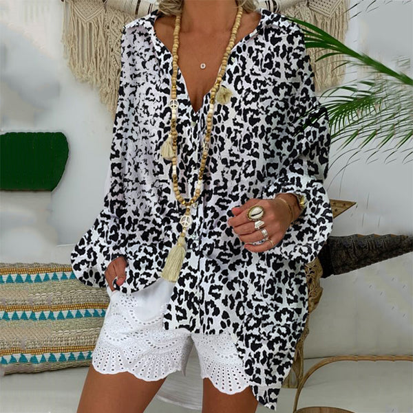 Bohemian Beach Leopard  Vacation Deep V Collar  Blouse
