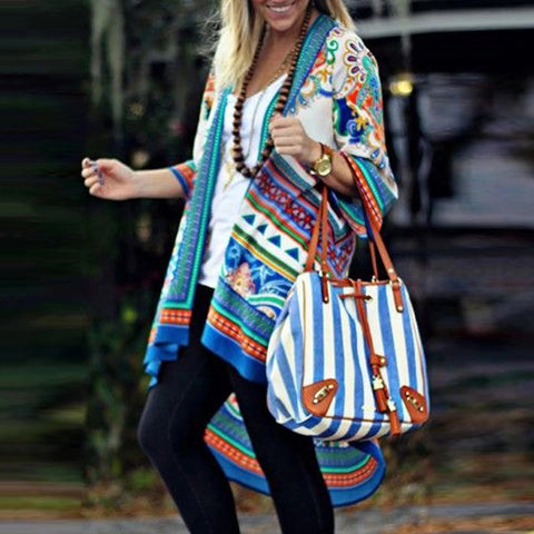 European And American Abstract Style Print Irregular Hem Cardigan