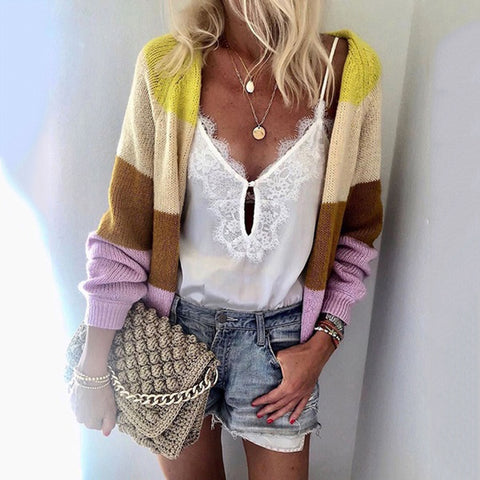 Casual Loose Colouring Printed Midi Sweater Cardigan