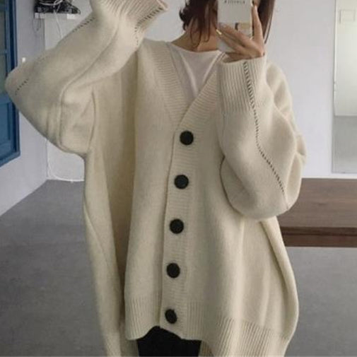 Loose Cardigans Coat Single-Breasted Sweater