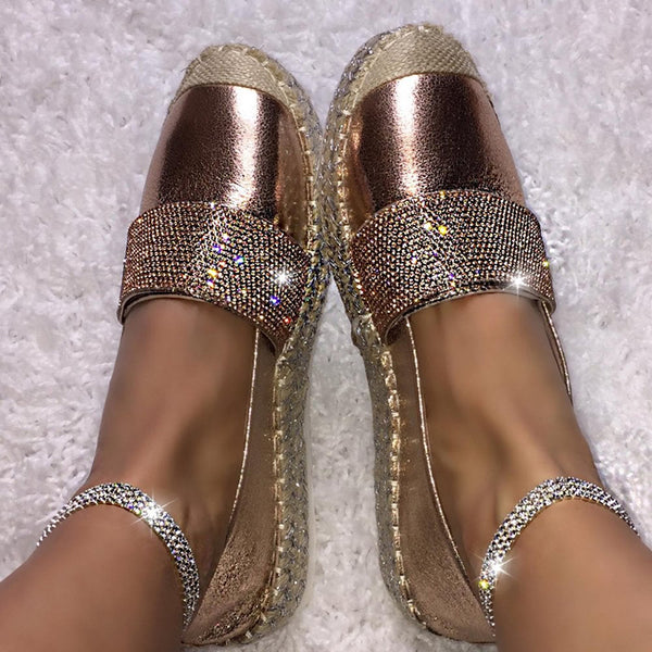 Women's Fashion Solid Color Rhinestone Buckle Stitching Flat Shoes