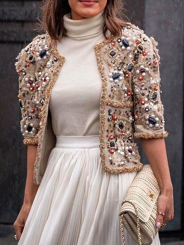 Women's Vintage Middle Sleeve Sequin Fit Jacket