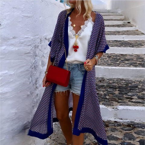 Casual Printed Long Cardigan
