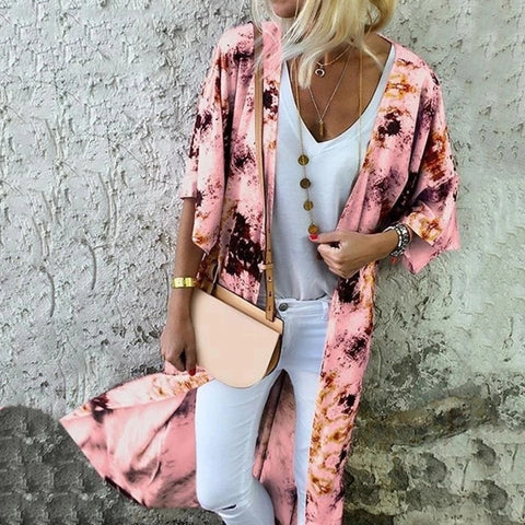 Fashion Abstract Style Print Long Sleeve Cardigan