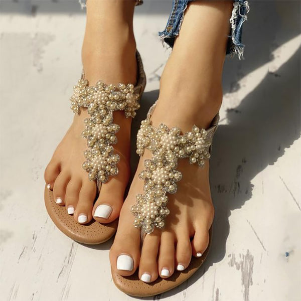 Bohemian Rhinestone Beaded National Wind Flat Bottom Pin Female Sandals
