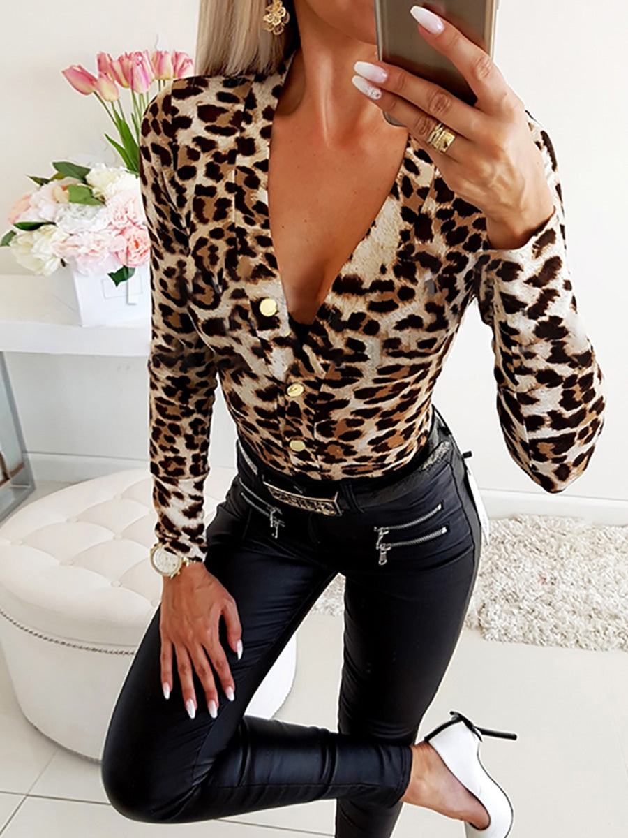Sexy Deep V-neck Leopard Printed Long Sleeve T-shirts Sweater