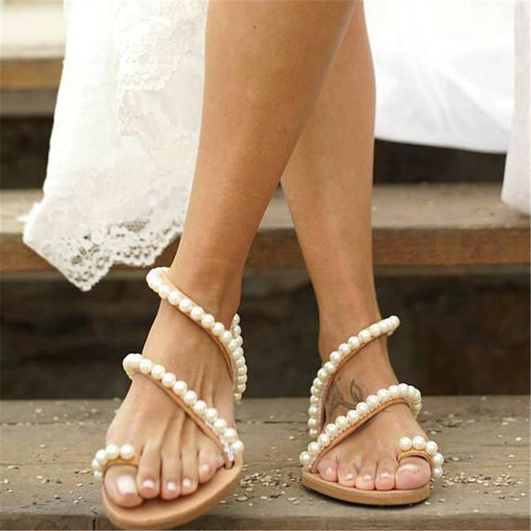 Pearl Embellished Open Toe Flat Sandals