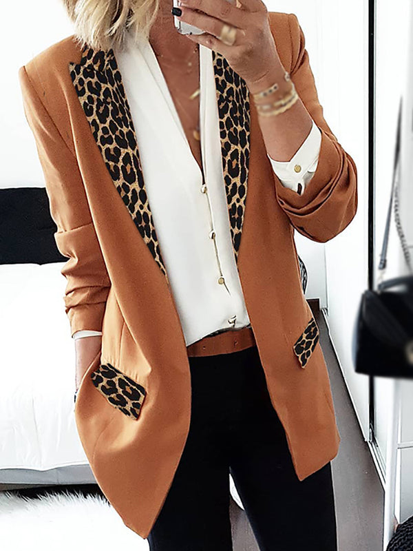 Casual Fashion Splicing Leopard Lapel Blazer
