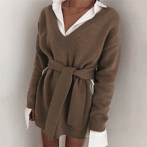 Elegant casual solid color V-neck long-sleeved sweater