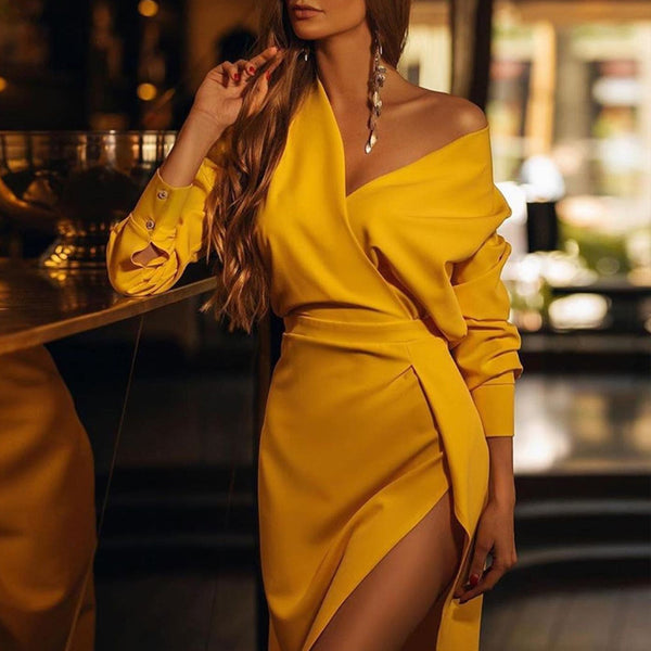 Women's Sexy Off-Shoulder Solid Color Irregular Dress