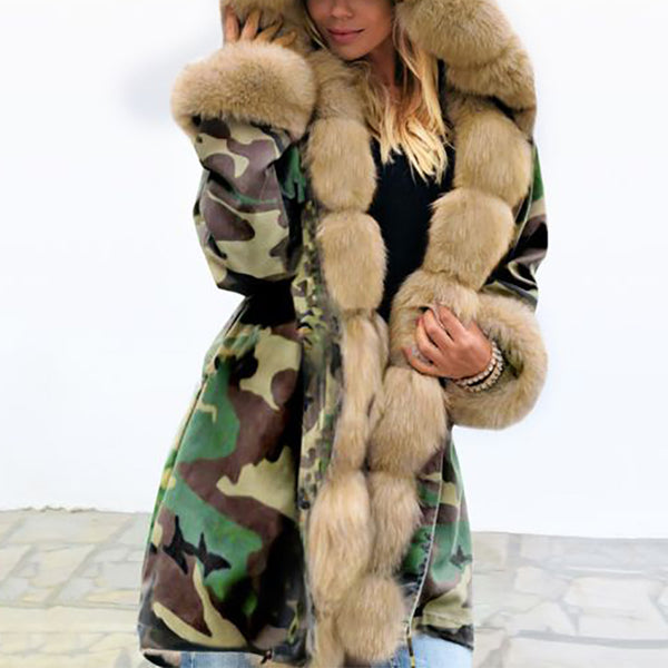 Fashion hooded camouflage long sleeve coat