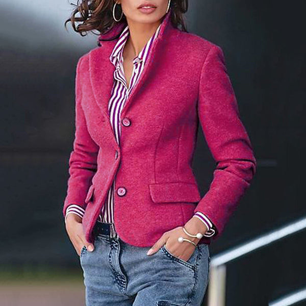 Stylish Solid Color Jacket With Pockets