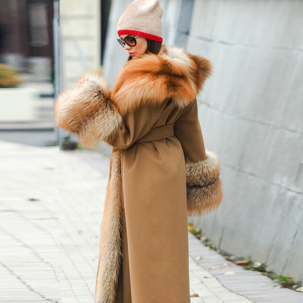 Russian Style Autumn And Winter Luxury Long High Imitation Mane Overcoat