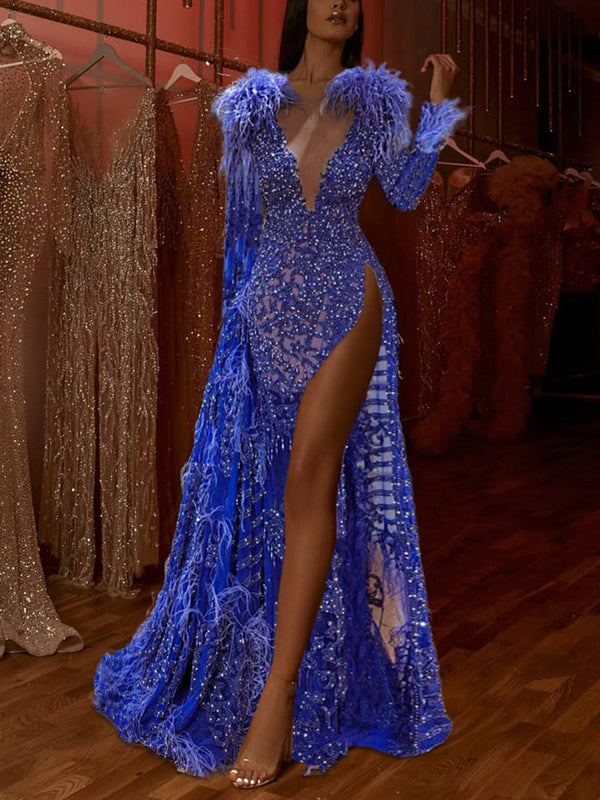 Sexy Long Sleeve Deep V-neck Feather Evening Maxi Dress