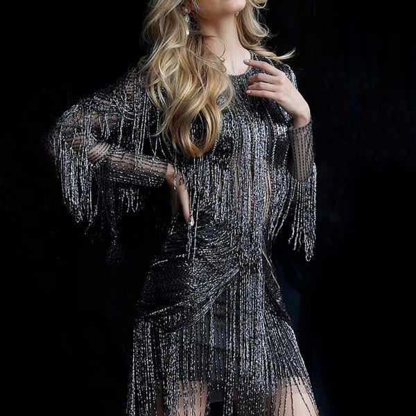 Fringe Long Sleeve Mini Evening Dress(2020Hot!!)