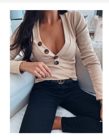 Knit Long Sleeve Button Knit Top