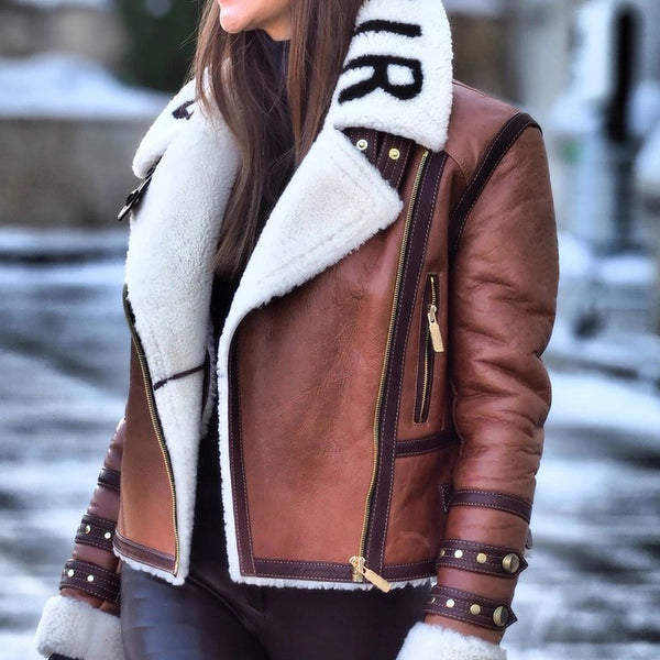 Fashion Lapel Zipper Patchwork Jacket