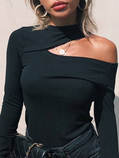 Finalpink Sexy Halter Collar Solid Color Long Sleeve Slim T-Shirt Sweater