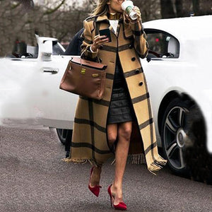 Casual Colorblock Lattice Lapel Long Coat