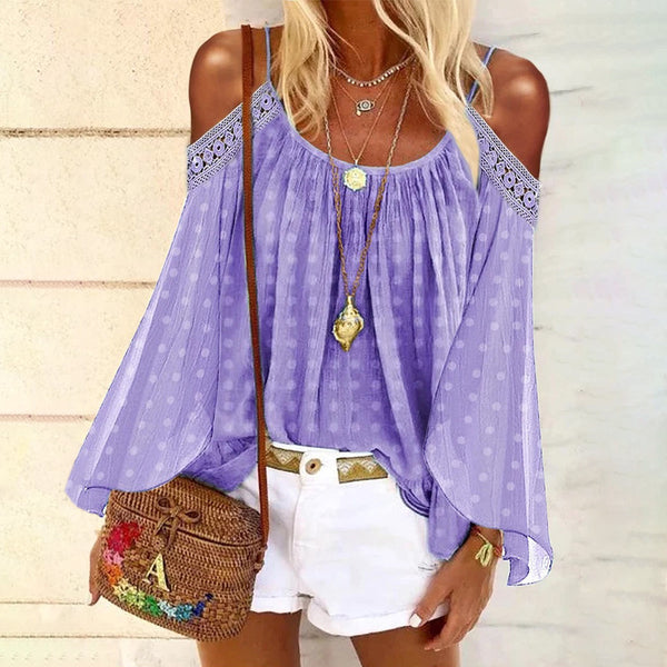 Bohemian Casual Pure Color Off Shoulder Sling Shirt