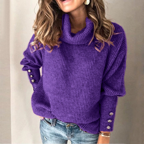 Women Long Sleeve Casual High Neck Button Sweater