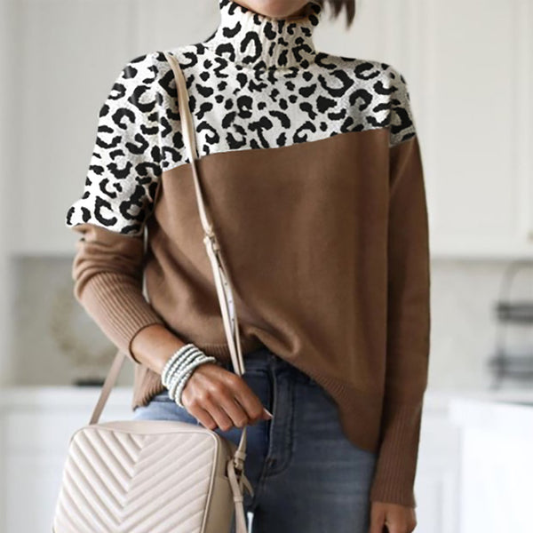 Women's Fashion Turtleneck Leopard Colorblock Sweater
