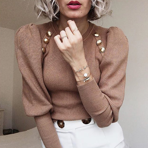 Leisure Pure Color Long Sleeve Sweater