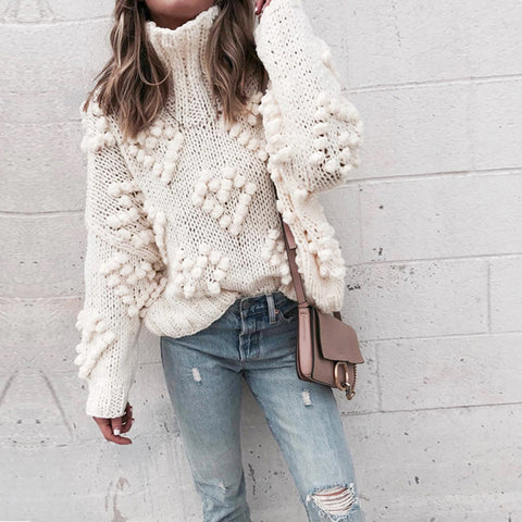 Stand Collar Long Sleeve Pom-poms White Knit Sweater