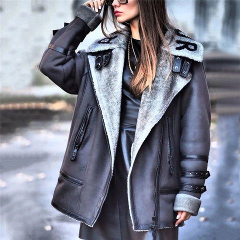 Fashion Zipper Pure Color Lapel Jacket