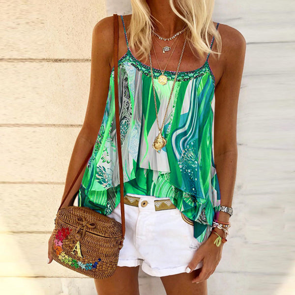Women's Casual Sling Stitching Tie-dye Print Vest