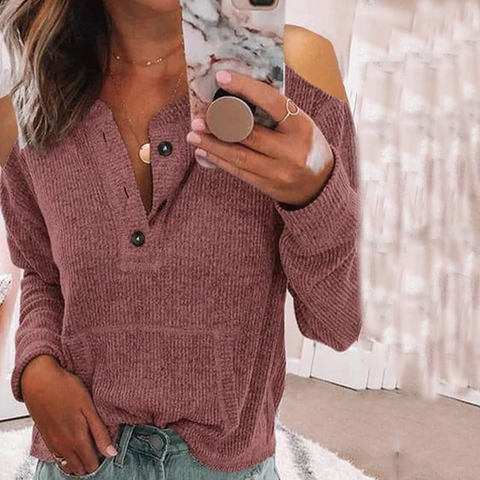 Solid Color Button-Down Strapless Long-Sleeved T-Shirt
