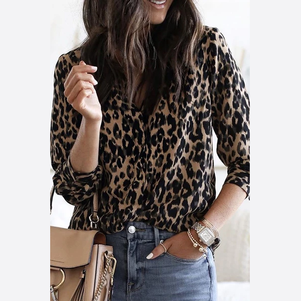 A Lapel  Regular  Brief  Leopard  Long Sleeve  Blouses