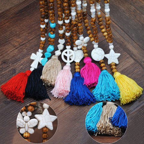 Bohemian Wooden Beads Color Tassel Long Necklace