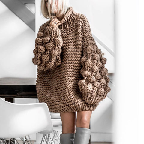 Autumn And Winter High Neck Fluffy Sleeve Twist Sweater