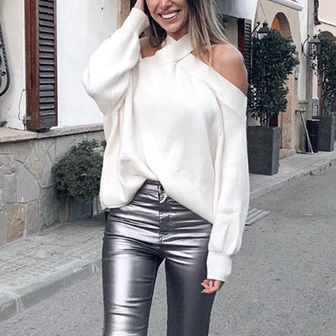 Sexy Pure White Halter Neck Strapless Knit Sweater